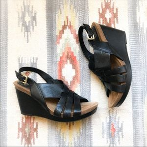 Söfft since 1927 Black Leather Wedges Sandals 8.5